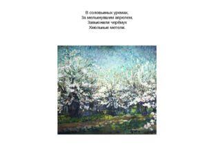В соловьиных уремах, За мелькнувшим апрелем, Завьюжили черёмух Хмельные метели.