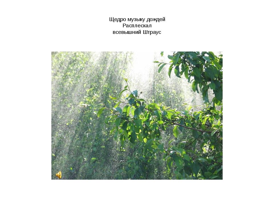 Щедро музыку дождей Расплескал всевышний Штраус
