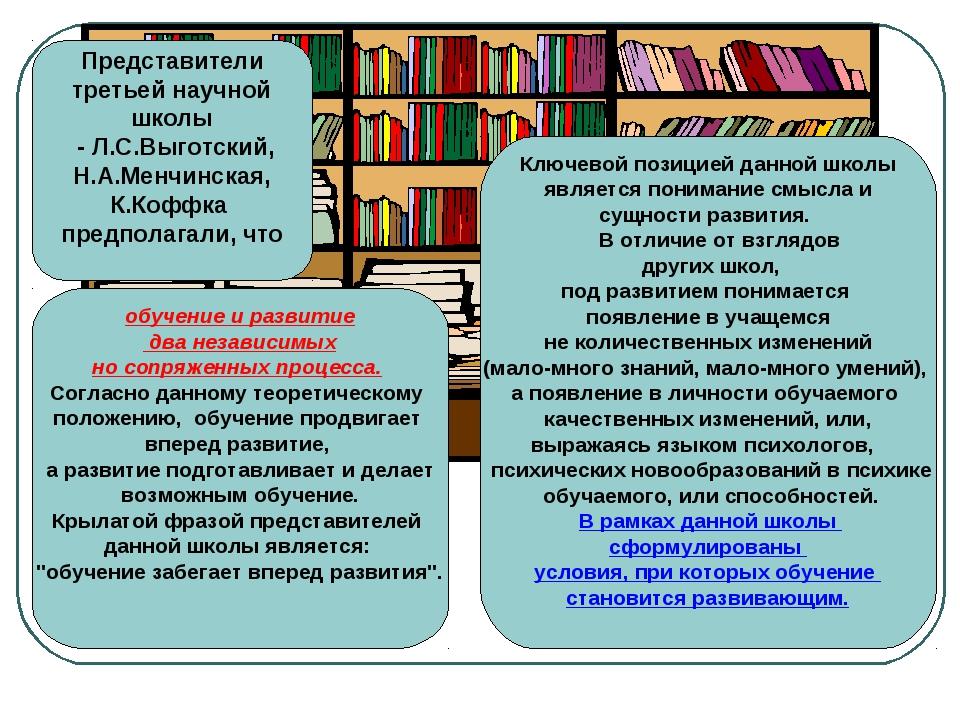 Представители третьей научной школы - Л.С.Выготский, Н.А.Менчинская, К.Коффка...