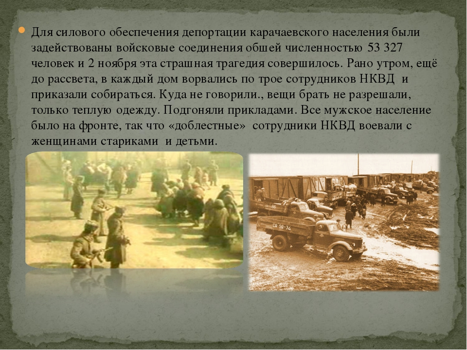 Для силового обеспечения депортации карачаевского населения были задействован...