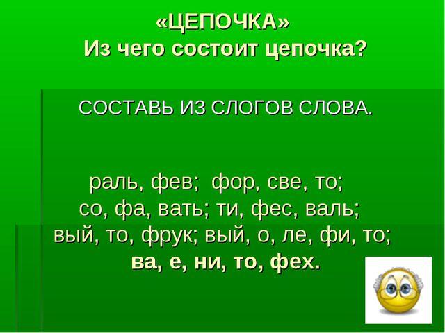 «ЦЕПОЧКА» Из чего состоит цепочка? раль, фев; фор, све, то; со, фа, вать; ти...