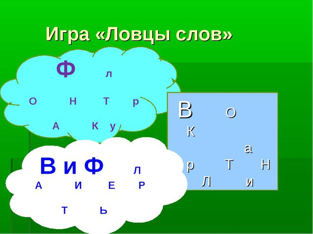Игра «Ловцы слов» Ф л О Н Т р А К у В О К а р Т Н Л и В и Ф Л А И Е Р Т Ь
