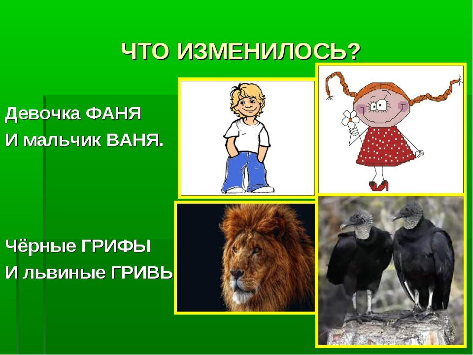 ЧТО ИЗМЕНИЛОСЬ? Девочка ФАНЯ И мальчик ВАНЯ. Чёрные ГРИФЫ И львиные ГРИВЫ.