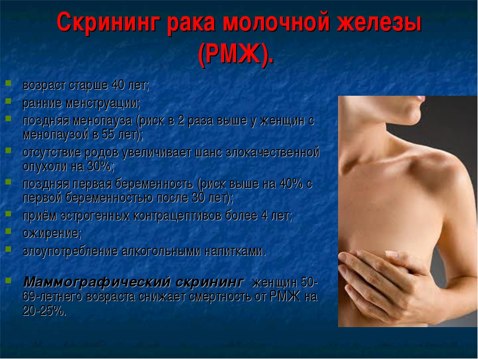 Скрининг рака молочной железы (РМЖ). возраст старше 40 лет; ранние менструаци...