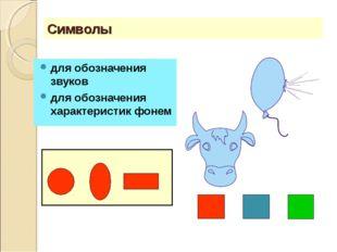 Символы для обозначения звуков для обозначения характеристик фонем