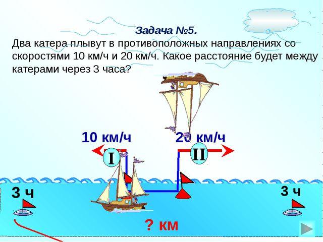 Задача №5. Два катера плывут в противоположных направлениях со скоростями 10...