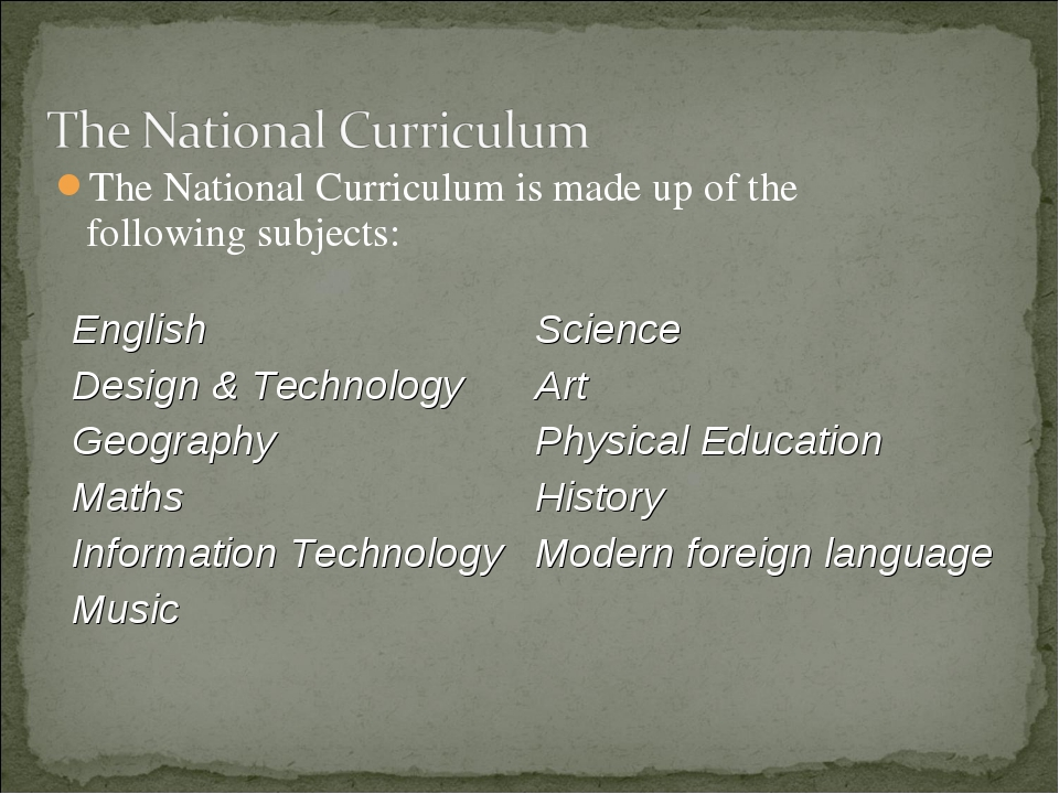 The National Curriculum is made up of the following subjects: English Design...