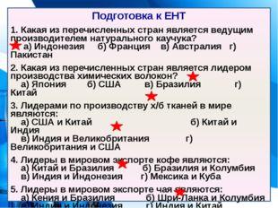 Подготовка к ЕНТ 1. Какая из перечисленных стран является ведущим производите
