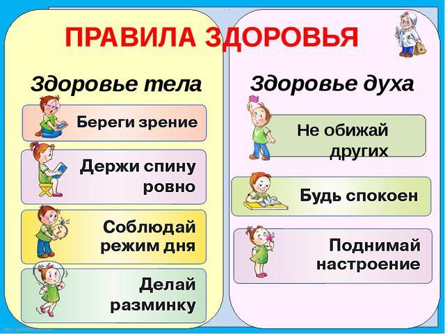 Здоровье тела Здоровье духа ПРАВИЛА ЗДОРОВЬЯ Не обижай других http://linda60...
