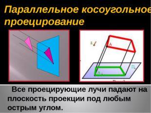 Все проецирующие лучи падают на плоскость проекции под любым острым углом. П