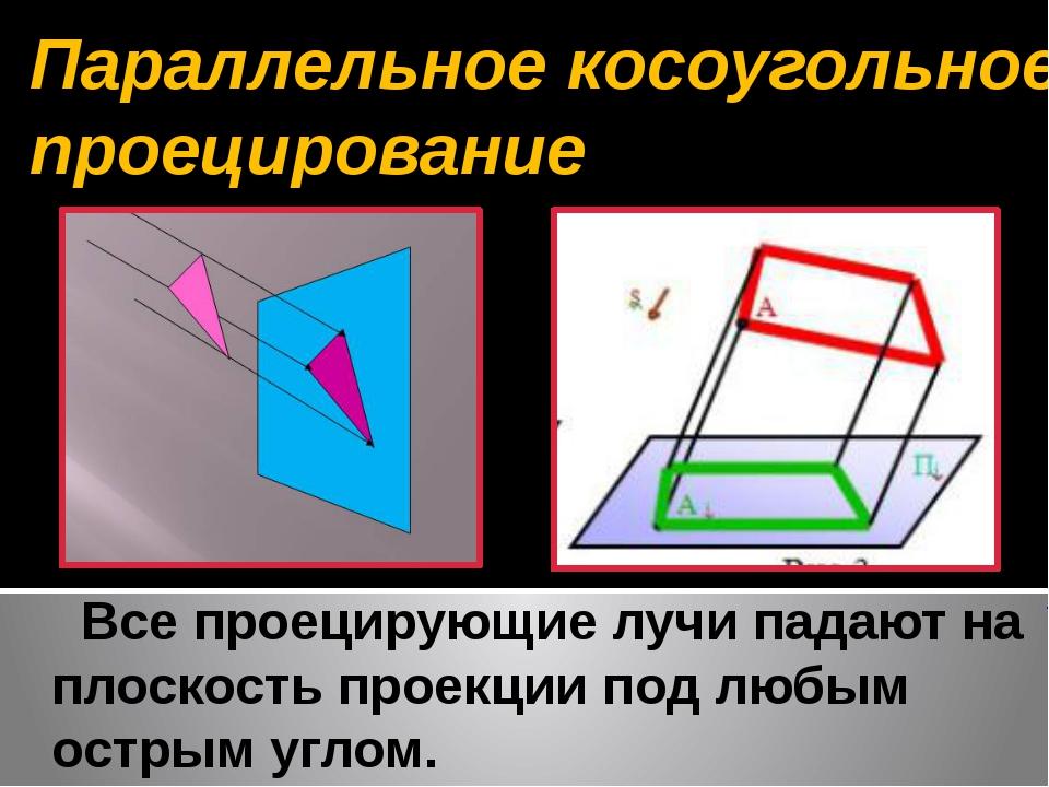 Все проецирующие лучи падают на плоскость проекции под любым острым углом. П...