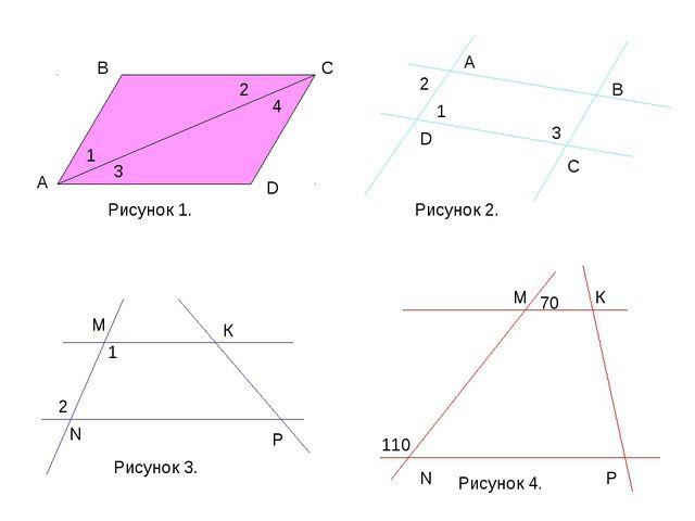 В С D А 1 3 2 4 Рисунок 1. А В С D 1 2 3 Рисунок 2. 1 2 М N К Р 70 110 М N К...