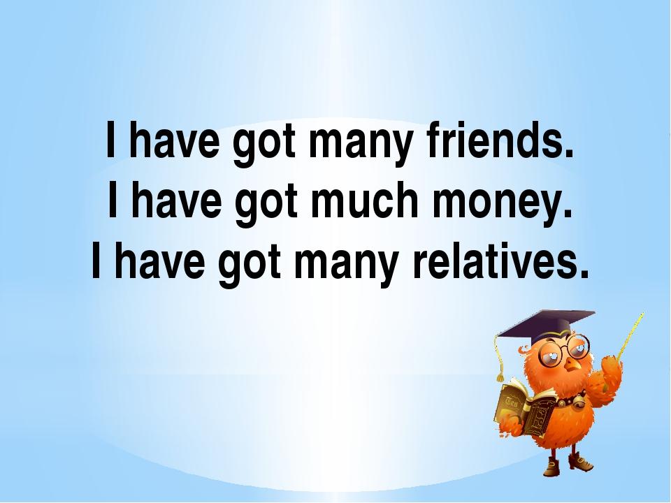 I have got many friends. I have got much money. I have got many relatives.