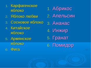Карфагенское яблоко Яблоко любви Сосновое яблоко Китайское яблоко Армянское я