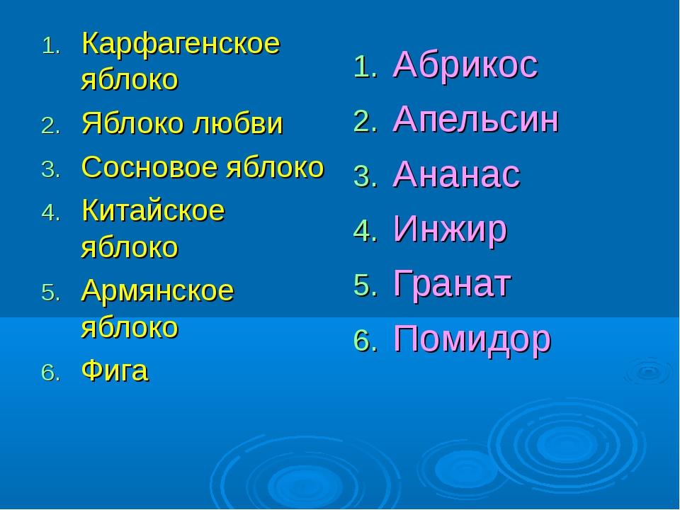 Карфагенское яблоко Яблоко любви Сосновое яблоко Китайское яблоко Армянское я...
