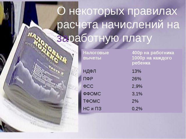 О некоторых правилах расчета начислений на заработную плату Налоговые вычеты...
