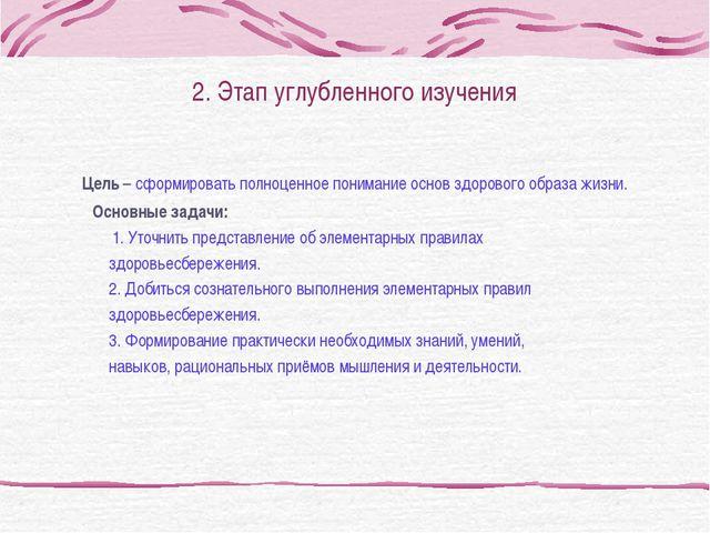 2. Этап углубленного изучения Цель – сформировать полноценное понимание основ...