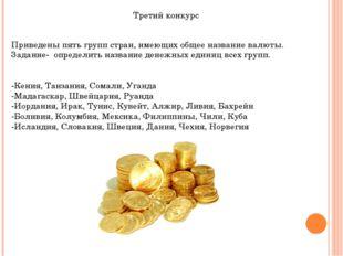 Третий конкурс Приведены пять групп стран, имеющих общее название валюты. Зад