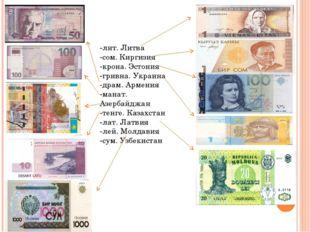 -лит. Литва -сом. Киргизия -крона. Эстония -гривна. Украина -драм. Армения -м