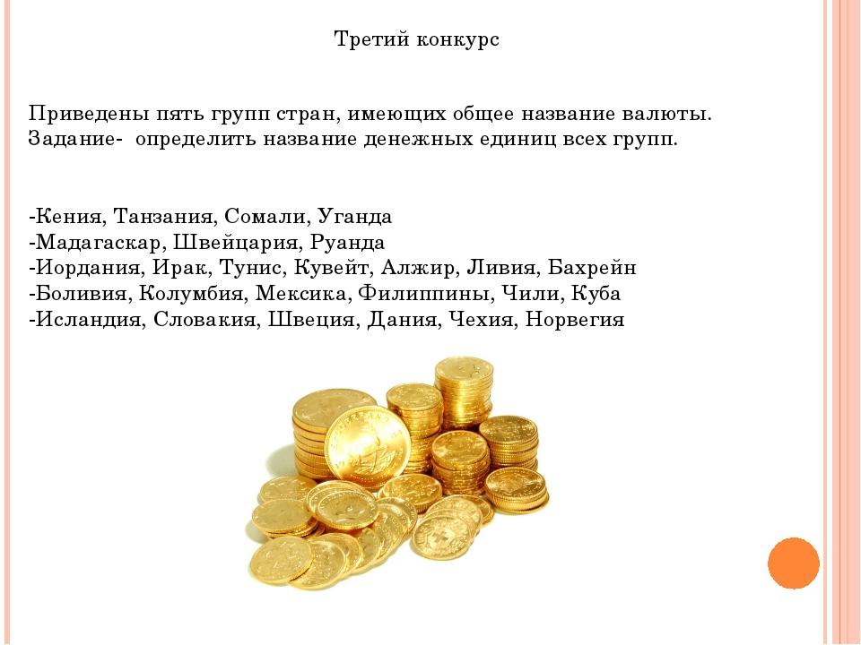 Третий конкурс Приведены пять групп стран, имеющих общее название валюты. Зад...