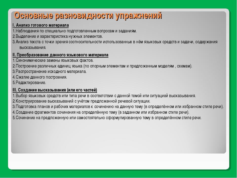 Основные разновидности упражнений I. Анализ готового материала 1.Наблюдения п...