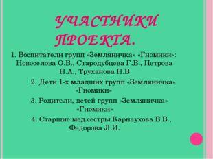 УЧАСТНИКИ ПРОЕКТА. 1. Воспитатели групп «Земляничка» «Гномики»: Новоселова О