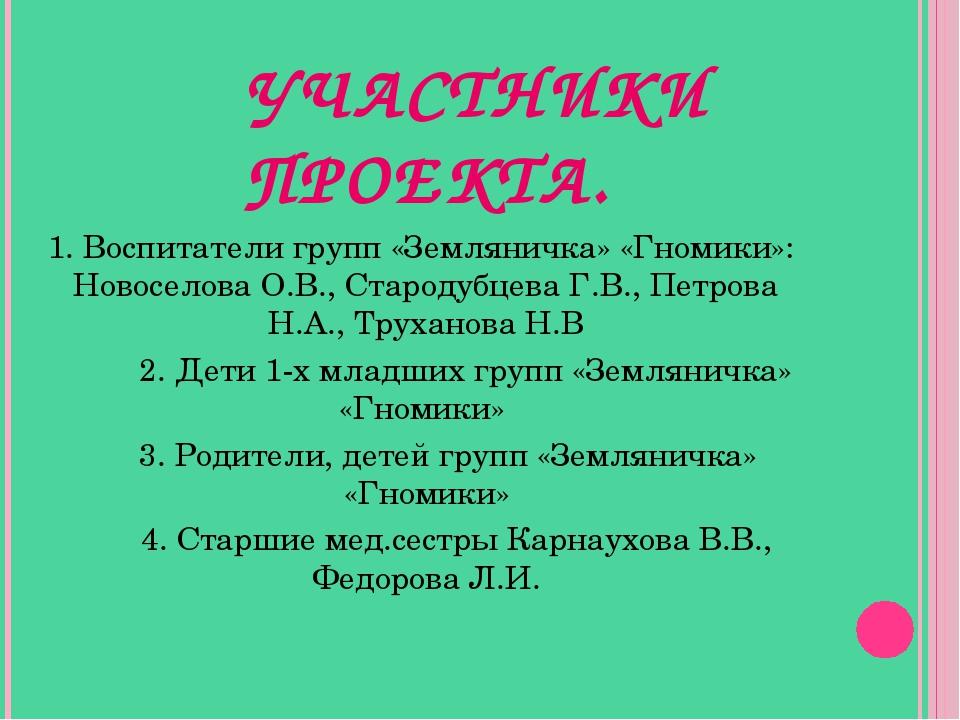 УЧАСТНИКИ ПРОЕКТА. 1. Воспитатели групп «Земляничка» «Гномики»: Новоселова О...