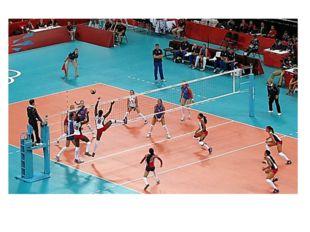 Волейбол - это игра в мяч руками на площадке, разделённой сеткой. В переводе