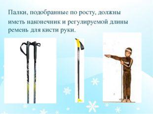 Палки, подобранные по росту, должны иметь наконечник и регулируемой длины рем