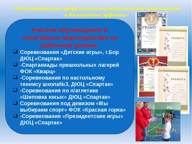 «Результативность профессиональной педагогической деятельности и достигнутые...