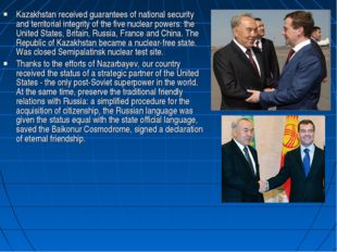 Kazakhstan received guarantees of national security and territorial integrity