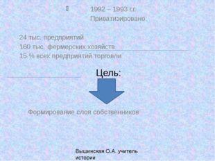 1992 – 1993 г.г. Приватизировано: 24 тыс. предприятий 160 тыс. фермерск