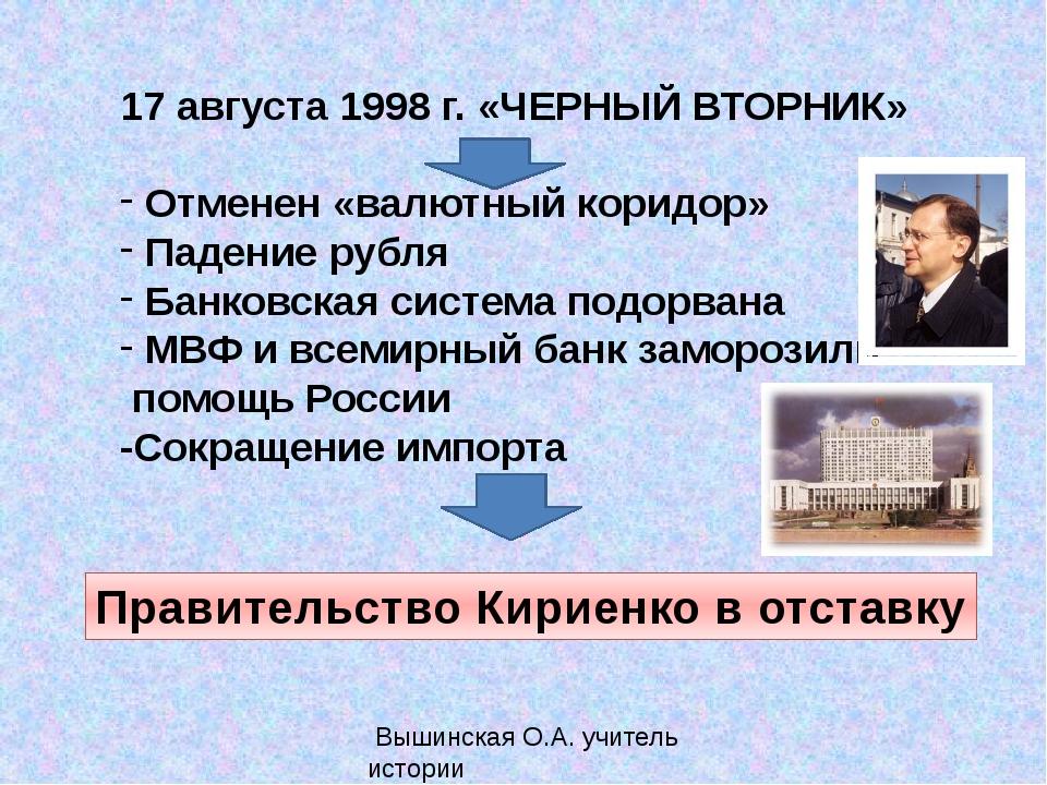 17 августа 1998 г. «ЧЕРНЫЙ ВТОРНИК» Отменен «валютный коридор» Падение рубля...