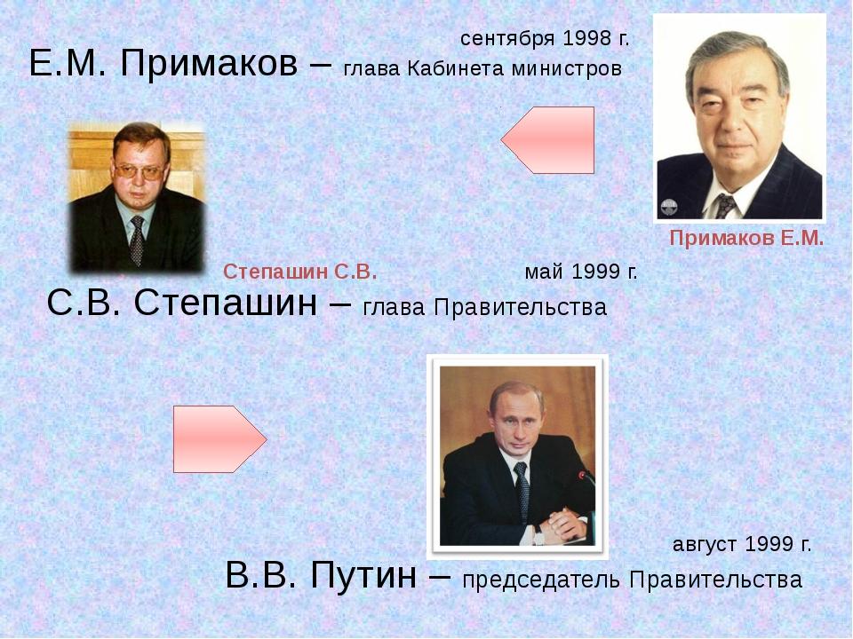 Е.М. Примаков – глава Кабинета министров С.В. Степашин – глава Правительства...