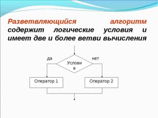 Разветвляющийся алгоритм содержит логические условия и имеет две и более ветв