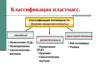 Классификация пластмасс. Классификация полимеров по форме макромолекулы линей