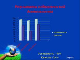 Результаты педагогической деятельности Успеваемость – 91% Качество -59 % Free
