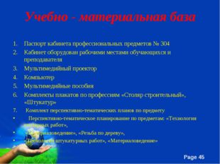 Учебно - материальная база Паспорт кабинета профессиональных предметов № 304