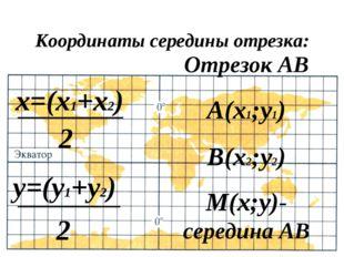 Координаты середины отрезка: х=(х1+х2) у=(у1+у2) Отрезок АВ А(х1;у1) В(х2;у2)