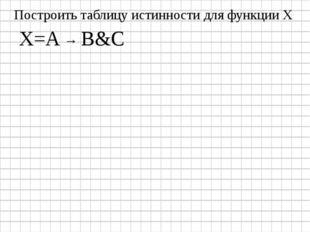 X=A → B&C Построить таблицу истинности для функции Х