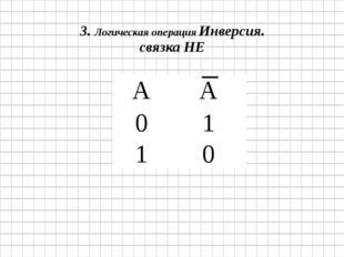 3.Логическая операция Инверсия. связка НЕ А А 0 1 1 0