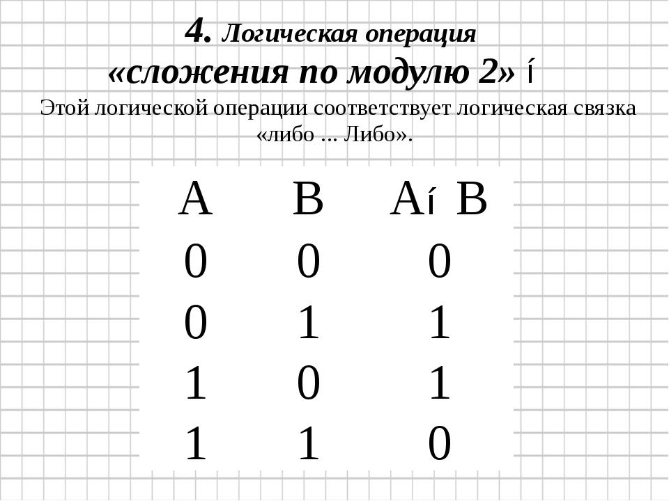 4. Логическая операция «сложения по модулю 2» ⊕ Этой логической операции соот...
