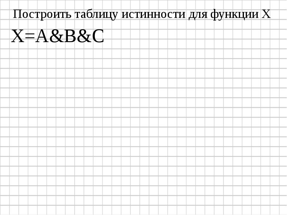 X=A&B&C Построить таблицу истинности для функции Х
