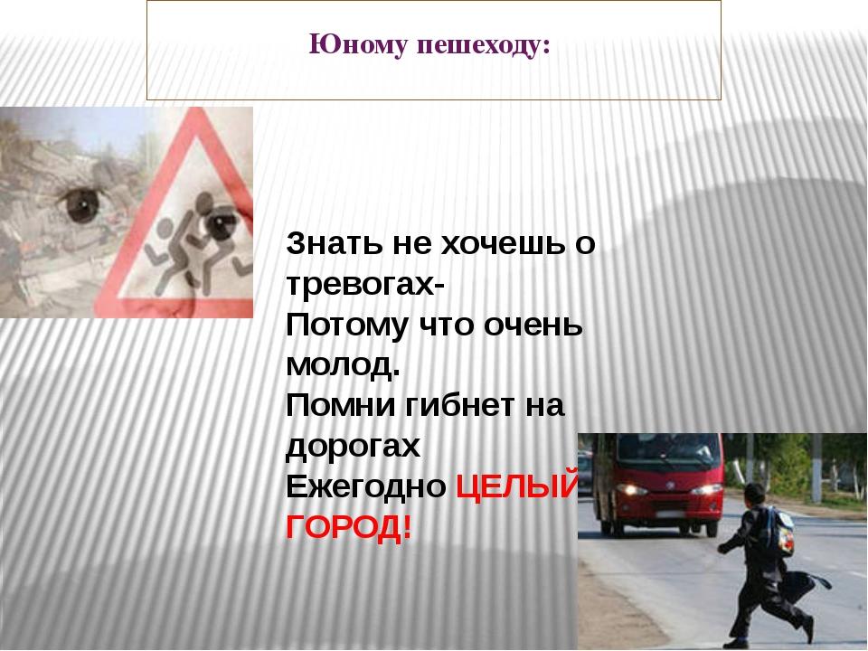 Юному пешеходу: Знать не хочешь о тревогах- Потому что очень молод. Помни ги...
