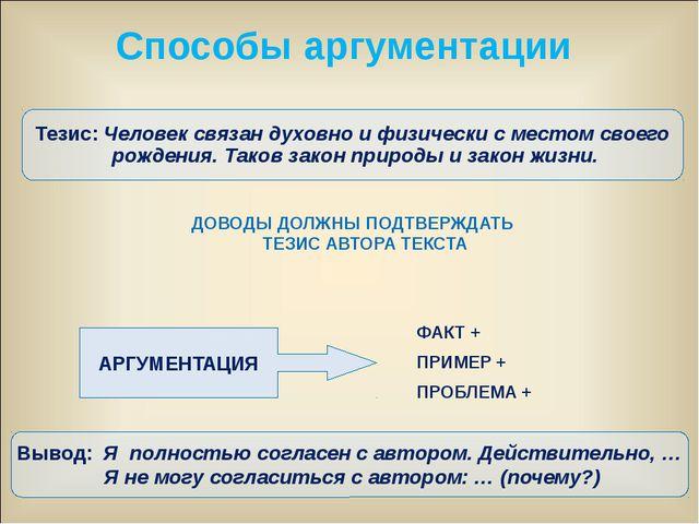 ДОВОДЫ ДОЛЖНЫ ПОДТВЕРЖДАТЬ ТЕЗИС АВТОРА ТЕКСТА АРГУМЕНТАЦИЯ ФАКТ + ПРИМЕР +...