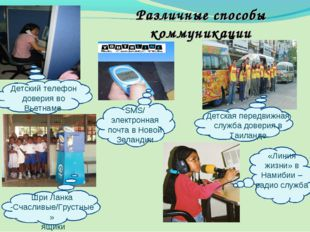 Различные способы коммуникации Детский телефон доверия во Вьетнаме SMS/ элект