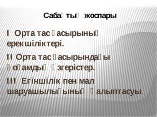 Сабақтың жоспары І Орта тас ғасырының ерекшіліктері. ІІ Орта тас ғасырындағы