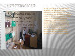 ИСТОЧНИК ИНФОРМАЦИИ: МЕДСТАТИСТИК СТАНЦИИ СКОРОЙ МЕДИЦИНСКОЙ ПОМОЩИ За 2012 г