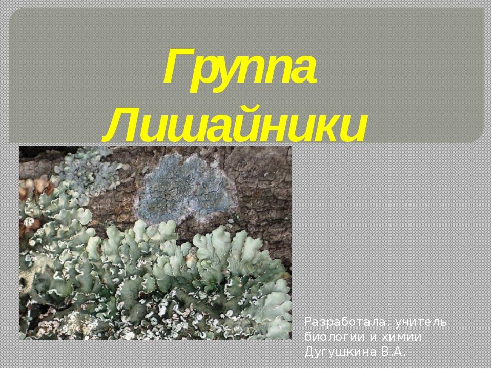 Группа Лишайники Разработала: учитель биологии и химии Дугушкина В.А.