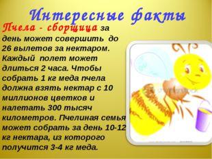 Интересные факты Пчела - сборщица за день может совершить до 26 вылетов за не
